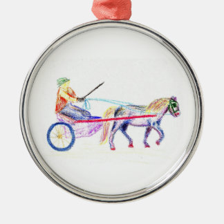 Cart horse in colored crayon pastel, pony sulky metal ornament