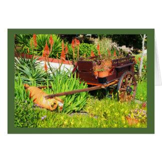 Cart in garden greeting card