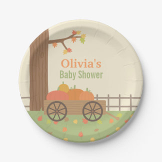Cart of Pumpkin Fall Baby Shower Party Plates