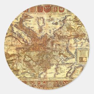 Carta Itineraria Europae by Waldseemüller 1520 Round Sticker