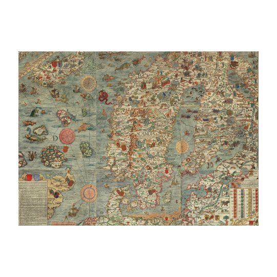 Carta Marina - Ancient Creatures Map of the World Canvas Print