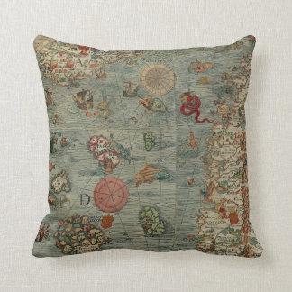 Carta Marina Map (Sea Unicorns!) Throw Pillow