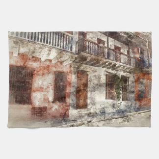 Cartagena Colombia Watercolor Kitchen Towel