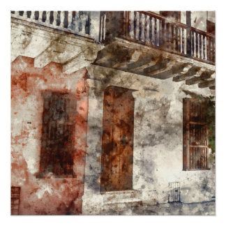 Cartagena Colombia Watercolor Perfect Poster