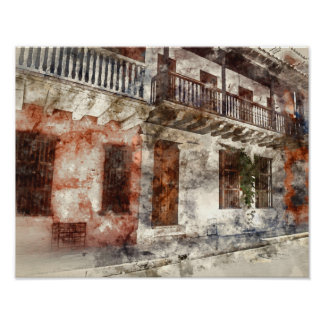 Cartagena Colombia Watercolor Poster