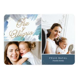 Cartão de Natal Azul Pintura Card