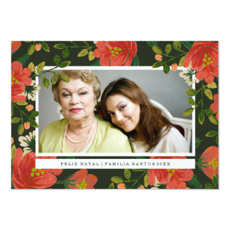 """Cartão de Natal Floral 5"""" X 7"""" Invitation Card"""