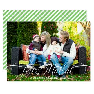 Cartão Feliz Natal Foto   Branco Fonte Script Card
