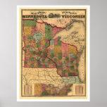 Carte 1871 de chemin de fer du Minnesota et du Wis