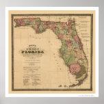 Carte 1874 de chemin de fer de la Floride Poster