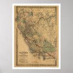 Carte 1876 de chemin de fer de la Californie et du Posters