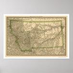 Carte 1881 de chemin de fer du Montana