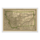Carte 1881 de chemin de fer du Montana Poster