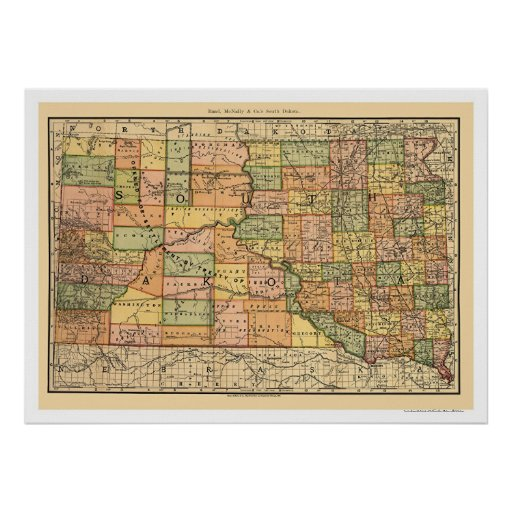 Carte 1892 de chemin de fer du Dakota du Sud Posters