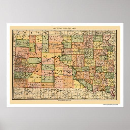 Carte 1892 de chemin de fer du Dakota du Sud Poster