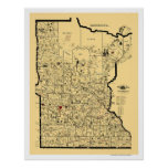 Carte 1897 de chemin de fer du Minnesota Posters