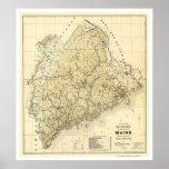 Carte 1899 de chemin de fer du Maine Affiches