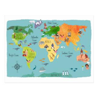 Carte admirablement conçue du monde cartes postales