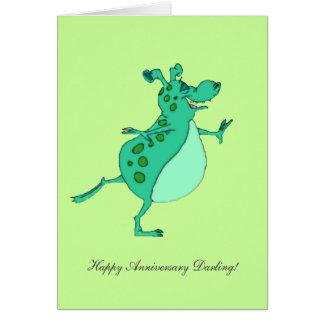 Carte Alien vert sautant - chouchou heureux