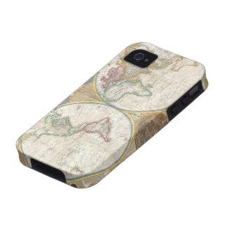 Carte antique du beau détaillé du monde, cadeau coque vibe iPhone 4