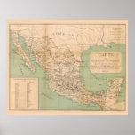 Carte antique du Mexique Etats Unis du Mexique Poster