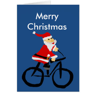 Carte Art drôle de Noël de bicyclette d'équitation du