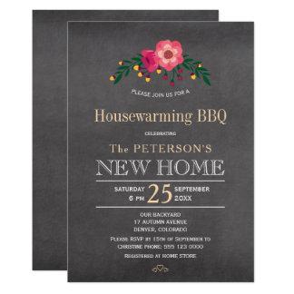Carte BBQ rustique floral de pendaison de crémaillère de