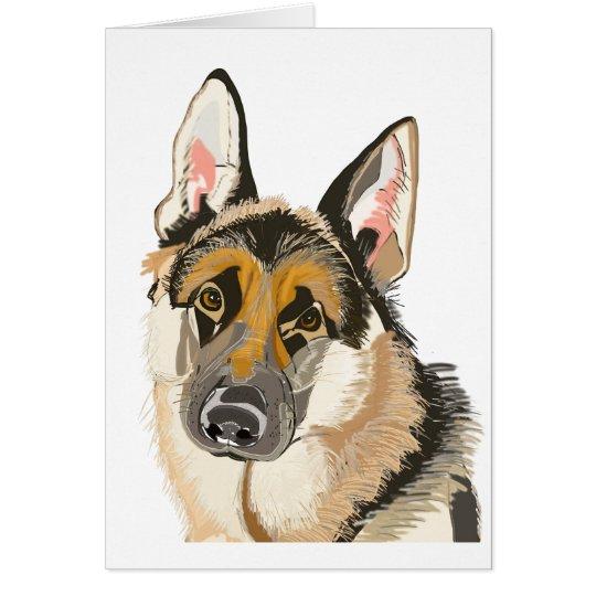 Carte berger allemand magnifique dessin de chien - Dessin de chien berger allemand ...