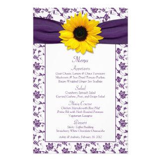 Carte blanche pourpre de menu de mariage damassé d prospectus