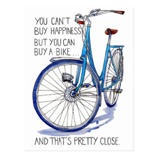Carte bleue de bonheur de vélo cartes postales