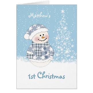 Carte Bonhomme de neige de bébé, arbre avec ęr Noël de