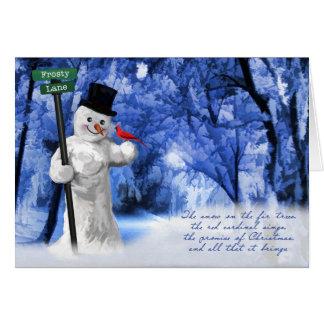 Carte Bonhomme de neige et poème cardinal rouge de Noël
