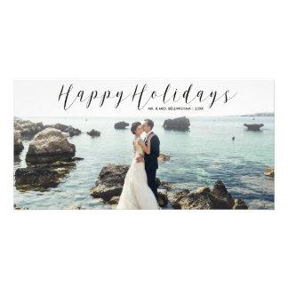 Carte Bonnes fêtes photo de Noël de calligraphie de