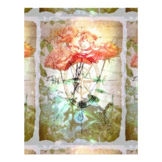 Carte boussole roses prospectus en couleur