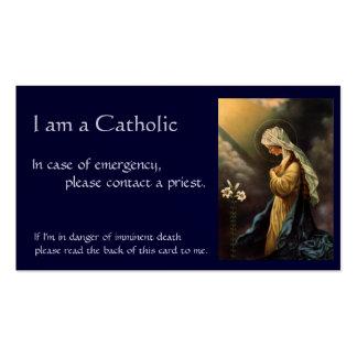 """Carte catholique d'identification """"en cas carte de visite standard"""