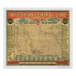 Carte centrale 1882 de chemin de fer du Wisconsin