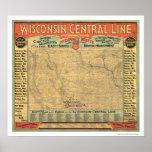 Carte centrale 1882 de chemin de fer du Wisconsin Poster