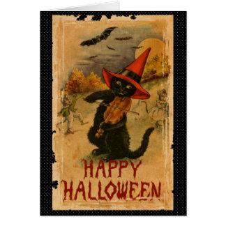Carte Chat noir heureux de Halloween jouant des battes