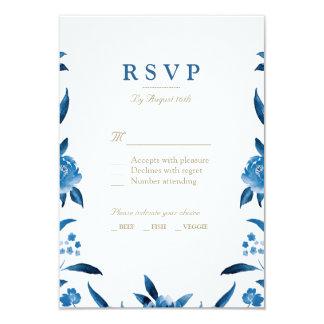 Carte Chinoiserie floral d'aquarelle bleue épousant RSVP