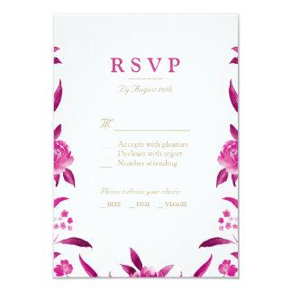 Carte Chinoiserie floral d'aquarelle rose épousant RSVP