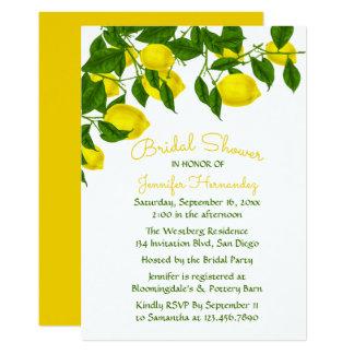 Carte Citron nuptiale jaune de douche et aquarelle verte