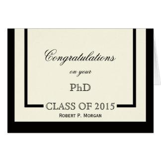 Carte classique d'obtention du diplôme de PhD de
