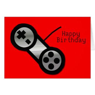 Carte d anniversaire rouge de jeu de Vidoe