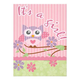 Carte d invitation de hibou de bébé