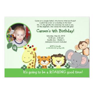 Carte d'anniversaire animale de photo de vert de carton d'invitation  12,7 cm x 17,78 cm