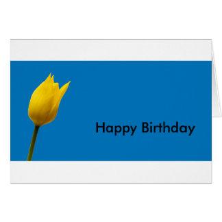 Carte d'anniversaire bleue de tulipe jaune