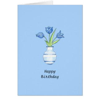 Carte d'anniversaire bleue de tulipes bleues