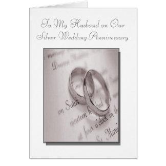 Carte d'anniversaire de noces d'argent de mari et