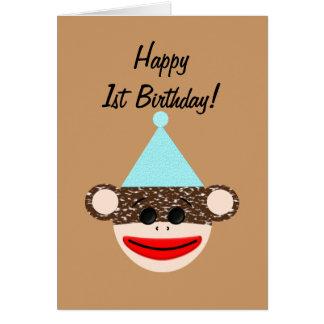 Carte d'anniversaire de singe de chaussette
