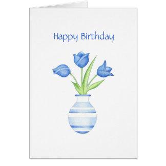 Carte d'anniversaire de tulipes bleues